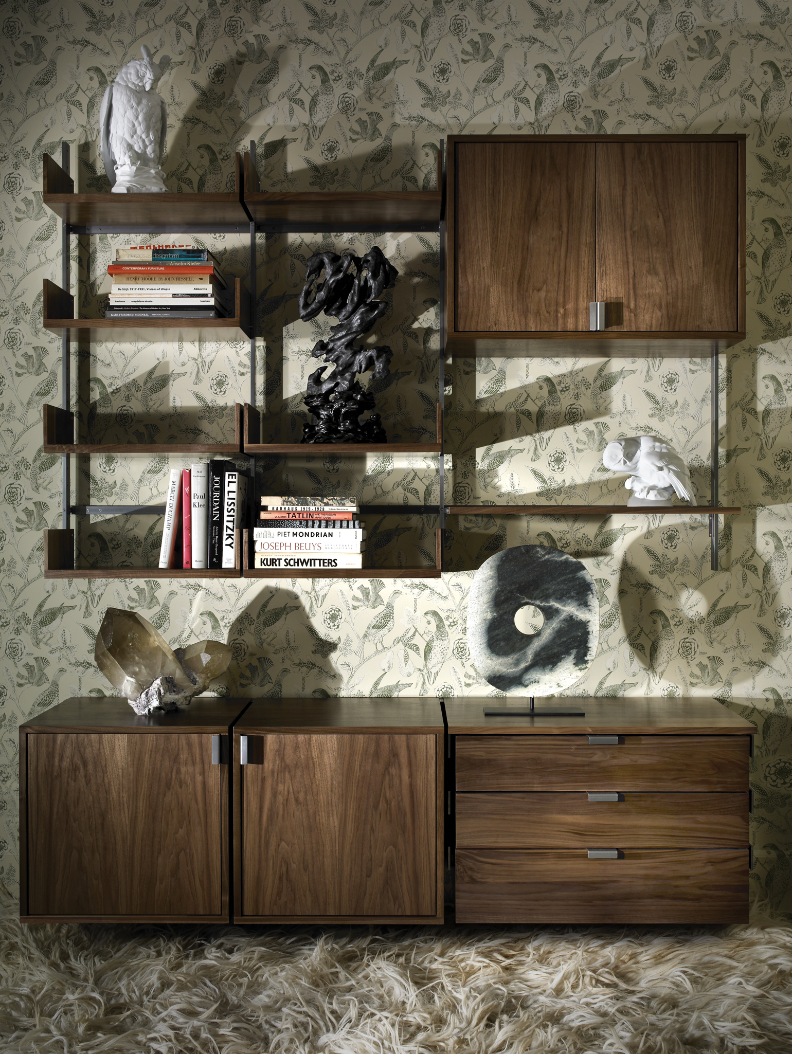 Solid walnut & cold-rolled steel storage configuration. Photograph by: Thomas Loof