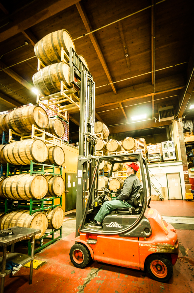 Lincoln stacks some Barrels. LOTS of cool barrel aged brews happening at Hales!