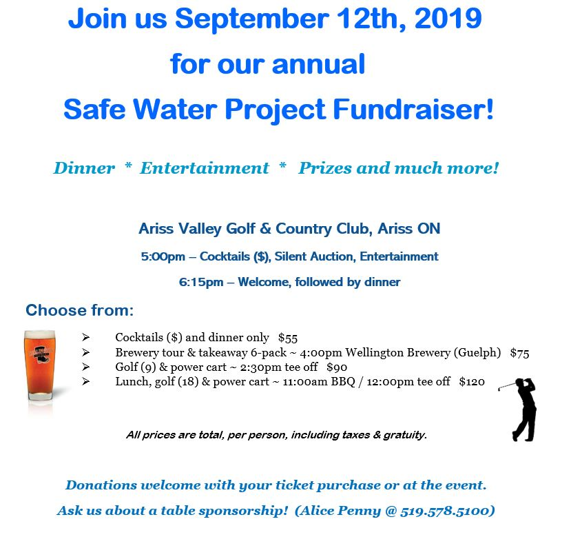 Register and/or donate now @   thesafewaterproject.org/joinus    R.S.V.P. today!