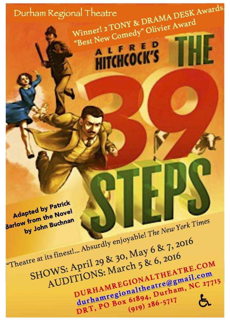 Auditions: Saturday, March 5, noon - 2 pm and Monday, March 7, 6 - 8 pm   durhamregionaltheatre.com/drt-shows/ has the details