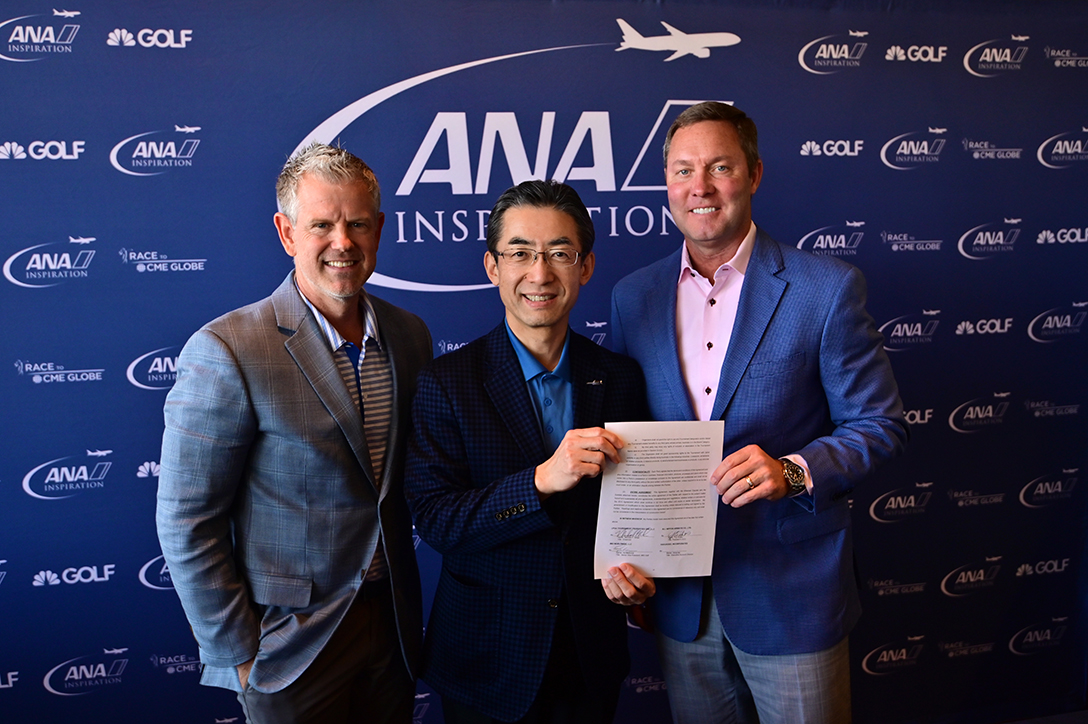 Ed McEnroe, IMG, Senior VP Americas, Yuji Hirako, Chief Executive Officer and President of All Nippon Airways Co. Ltd and LPGA Commissioner Mike Whan, formally signed a three-year extension of ANA's title sponsorship of the LPGA Tour's first major of the season