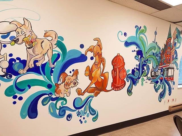 Different angle and a small sneak preview @urbanbarkto . . . . #mural #muralmuralonthewall #muraldesign #muralist #torontomural #dogboarding #urbanbark #doggydaycare #torontodogs #wallart #artist #dogart #doglover #colouful #paint #liquitex #artistsoninstagram