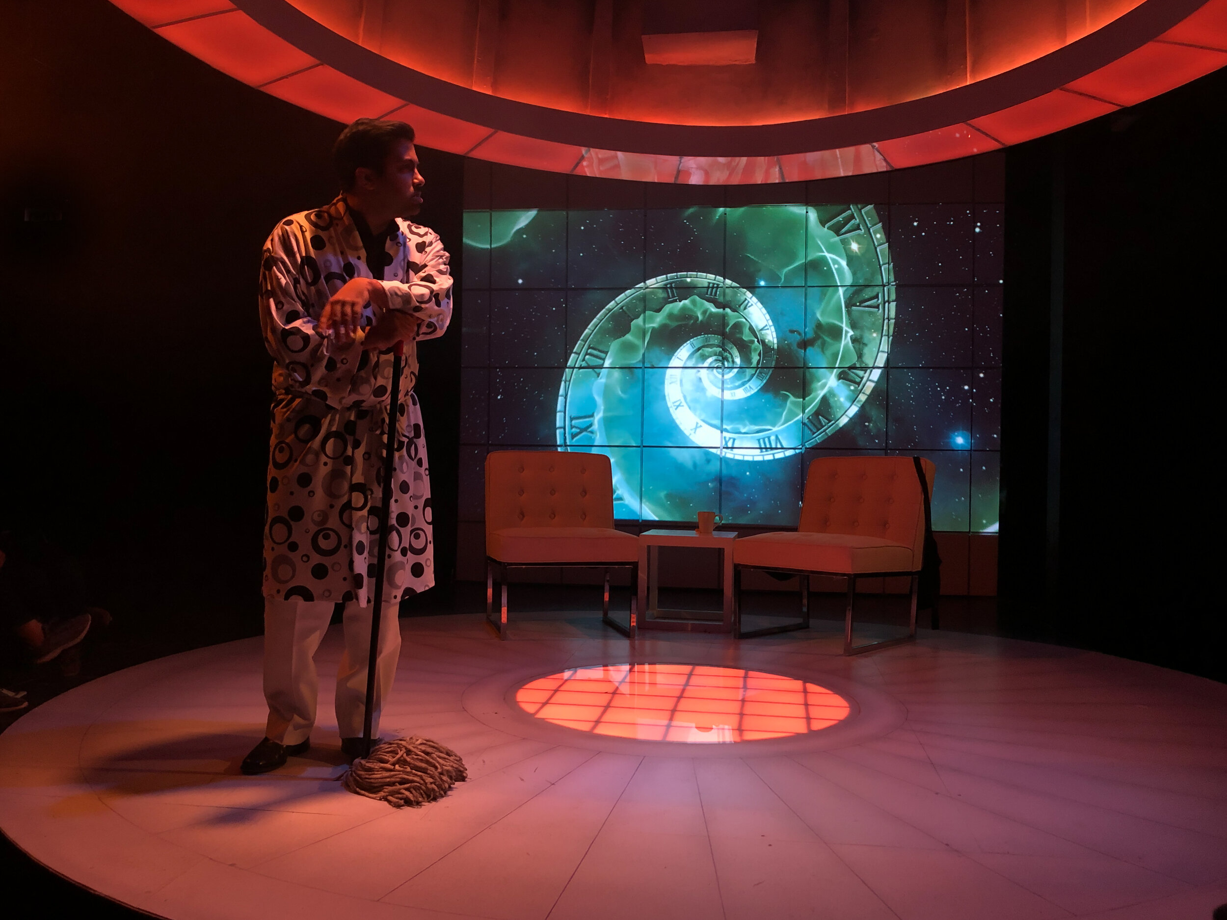 Mosquitoes by Lucy Kirkwood at the Steep Theatre October 2019. Projections Design/ Programming by Stephan Mazurek.