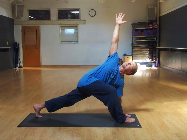 Parivrtta Anjaneyasana or Revolved Lunge Pose                                               has many variations and modifications.                                               This pose stretches the psoas and hips.                      It also aids in digestion, and strengthens the quadriceps, glutes and core