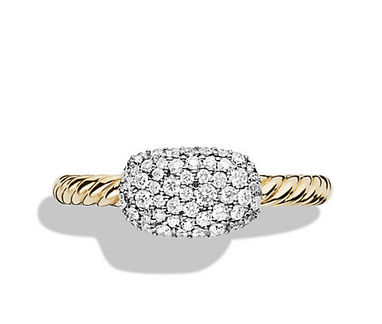 Petite Pavé Cushion Ring with Diamonds in Gold, $1,950