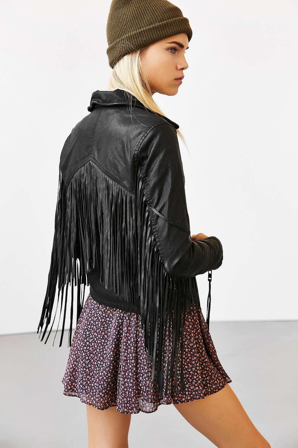 BLANKNYC vegan leather fringe jacket, $138