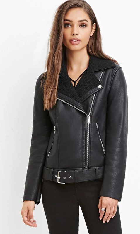 Faux shearling moto jacket, $54.90