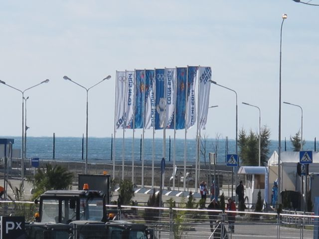From a media shuttle I caught sight of the Black Sea and one of the Russian Navy ships defending the Games. I would love to dip a toe in the sea, but  several rows of security fences make it inaccessible.