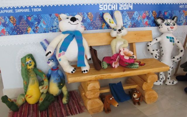 Meet the mascots—and a few other stuffed toys who wandered into the shot like the stray dogs that have been getting so much international attention this week.