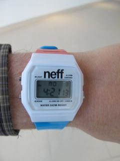 My nephew and his wife gave me a red-white-and-blue watch to wear in Sochi, made by a snowboard apparel company that happens to go by my last name. Wherever I go in Russia, it's always Neff time.