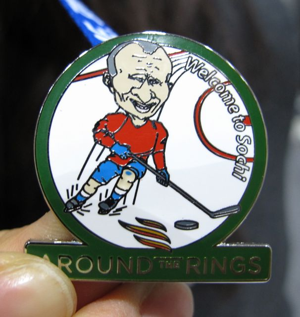 My favorite pin of the Olympics so far: Vladimir Putin as a hockey player.