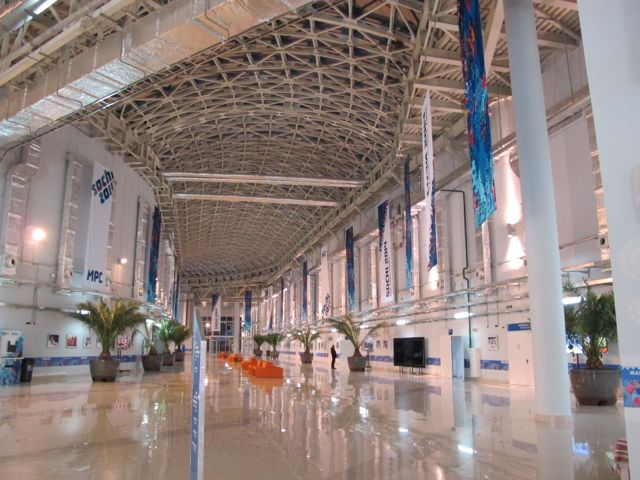 One of the grand skylit halls in the Main Press Center. The vast building will be turned into a shopping mall after the Games is done. I get plenty of walking in just going to press conferences, trekking to the cafeteria and doing other daily wanderings.