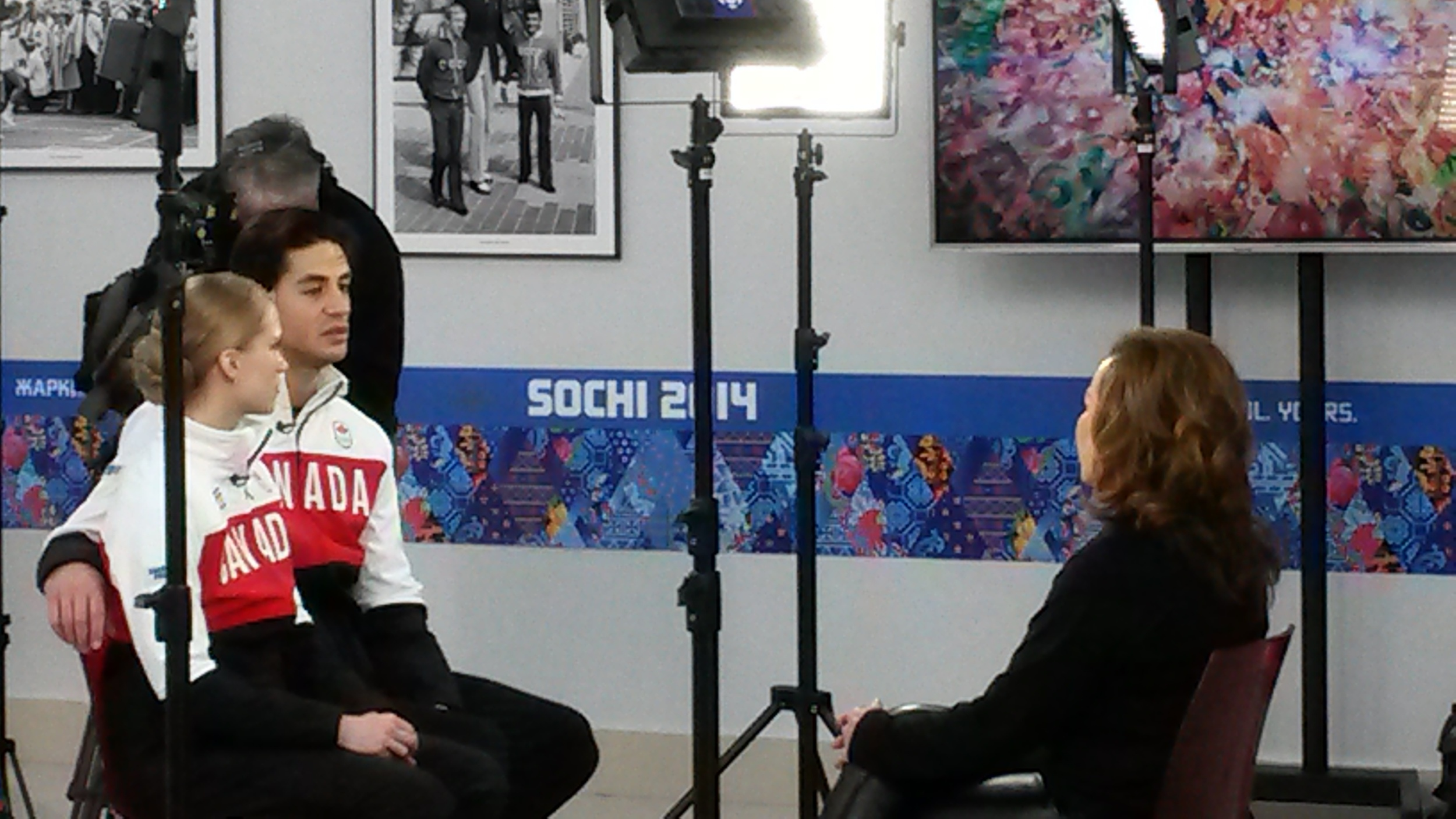 As you walk around the press center you sometimes see athletes being interviewed by TV crews. This pair is Canadian ice dancers Kaitlyn Weaver and Andrew Poje.