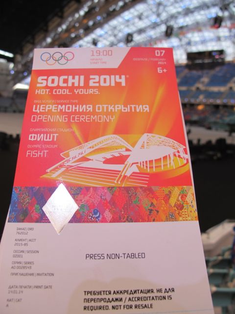 This is what my press ticket looked like. Only a limited number of journalists from each media outlet were given tickets to attend.