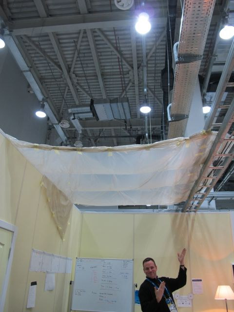 True to the half-built spirit of these Games, the Main Press Center sprung a leak right above the desk of Frank, our techie. He put up a makeshift roof. Meanwhile, one of our writers was trapped in his fifth-floor hotel room for several hours yesterday morning when the door handle pulled off from the inside and no one was at the front desk to come up and let him out. Perhaps you've seen the photo of the Olympic Village bathroom door a U.S. athlete kicked his way through in order to escape in a similar situation.
