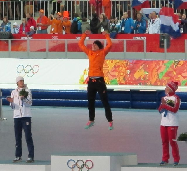 Some of you saw this on The Naturalist's Notebook's Facebook page. I had a feeling that 3,000-meter speedskating winner Irene Wust of the Netherlands was going to do something jubilant as she stepped onto the winner's podium, so I clicked the shutter…and got lucky.