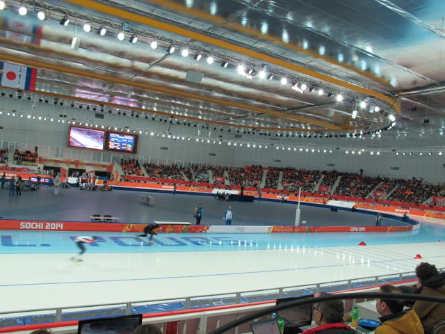 Here's a look inside Adler arena, the site of long-track speedskating. The track is 400 meter long and it's hard to convey on television how fast the skaters go.
