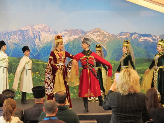 I walked in on a performance by a group of Circassian dancers called The Legend of the Caucasus. Etremely long sleeves seemed crucial to the choreography.