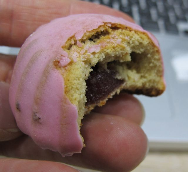 Churchill famously called Russia a riddle wrapped in a mystery inside an enigma. This confection was an unidentifiable riddle of a jam wrapped in dry cake inside pink frosting. But pretty good. I do like cookies.
