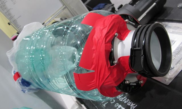 Necessity is the mother of Olympic invention. When some of our photographers failed to bring light modifiers to soften the illumination from strobes, our crew fashioned homemade ones using duct tape, plastic grocery bags and empty bottles from the office water coolers.