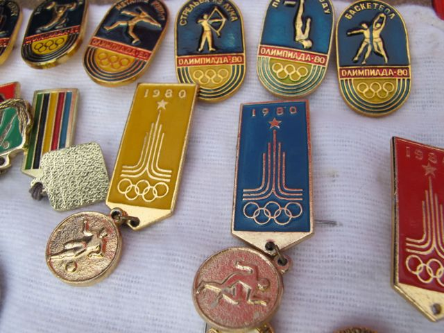 Here are some pins—medallions, really—from the 1980 Moscow Summer Olympics. I have some like this at home that I picked up on a 1986 Sports Illustrated writing assignment in Moscow.