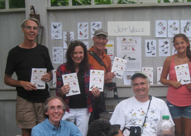 Here is a portion of the birding group on the Notebook deck holding up Jeff's book.