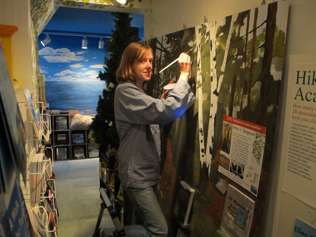 Amy, an artist and horticulturalist, has been painting an Acadia National Park carriage road scene in the Notebook in Seal Harbor.