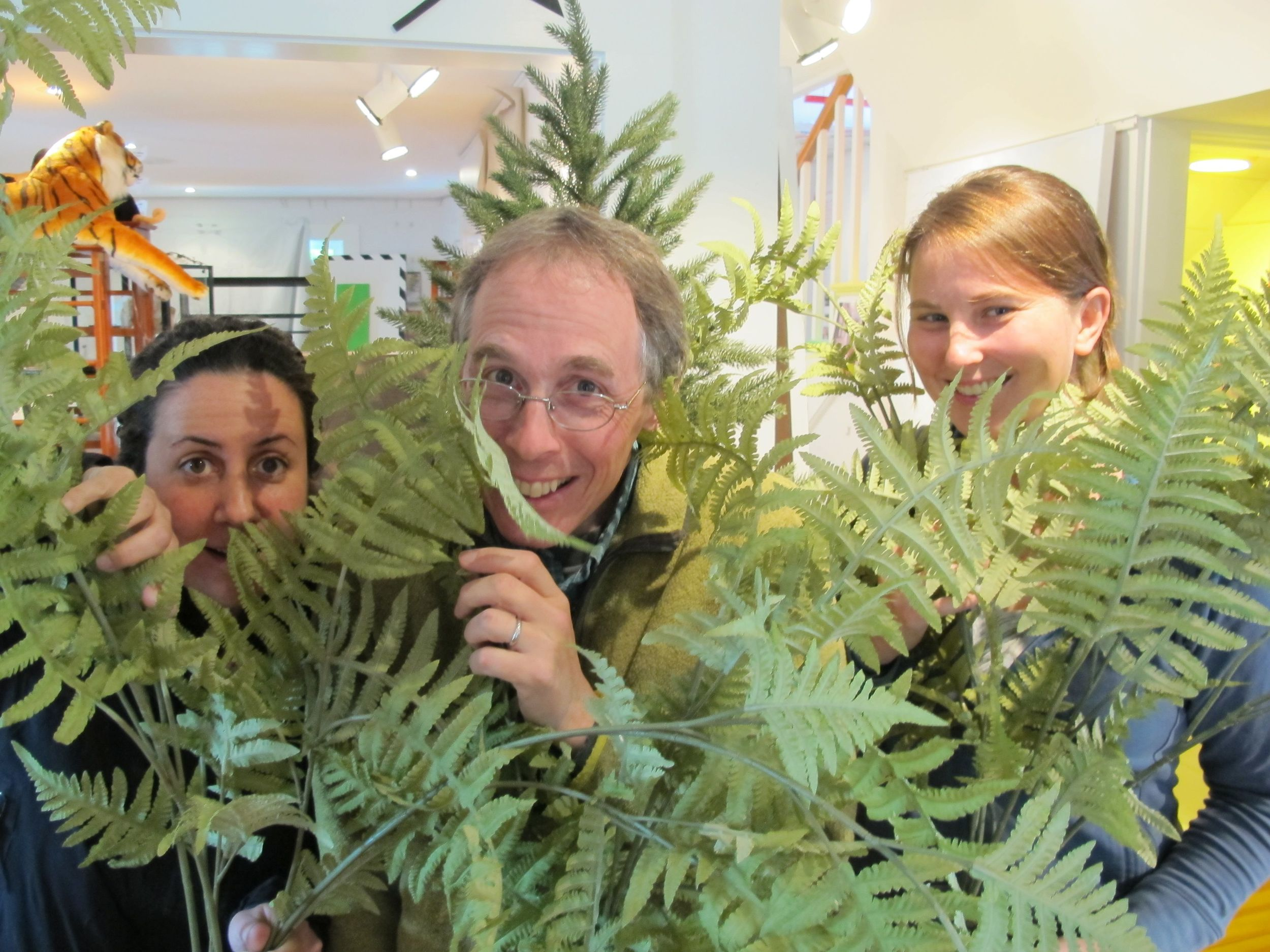We'll be taking visitors through a unique indoor exploration of part of Acadia National Park, complete with faux flora. Here Notebook friend Peggy Knox (left) and biologist Caitlin McDonough MacKenzie—a Pd.D. student studying the effects of climate change on plants in Acadia—join me in checking out ferns.
