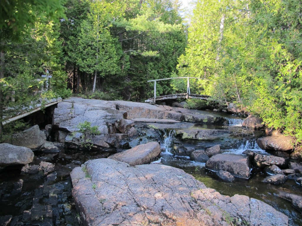 This is the spot at which the stream drops significantly and flows into Lower Hadlock Pond.