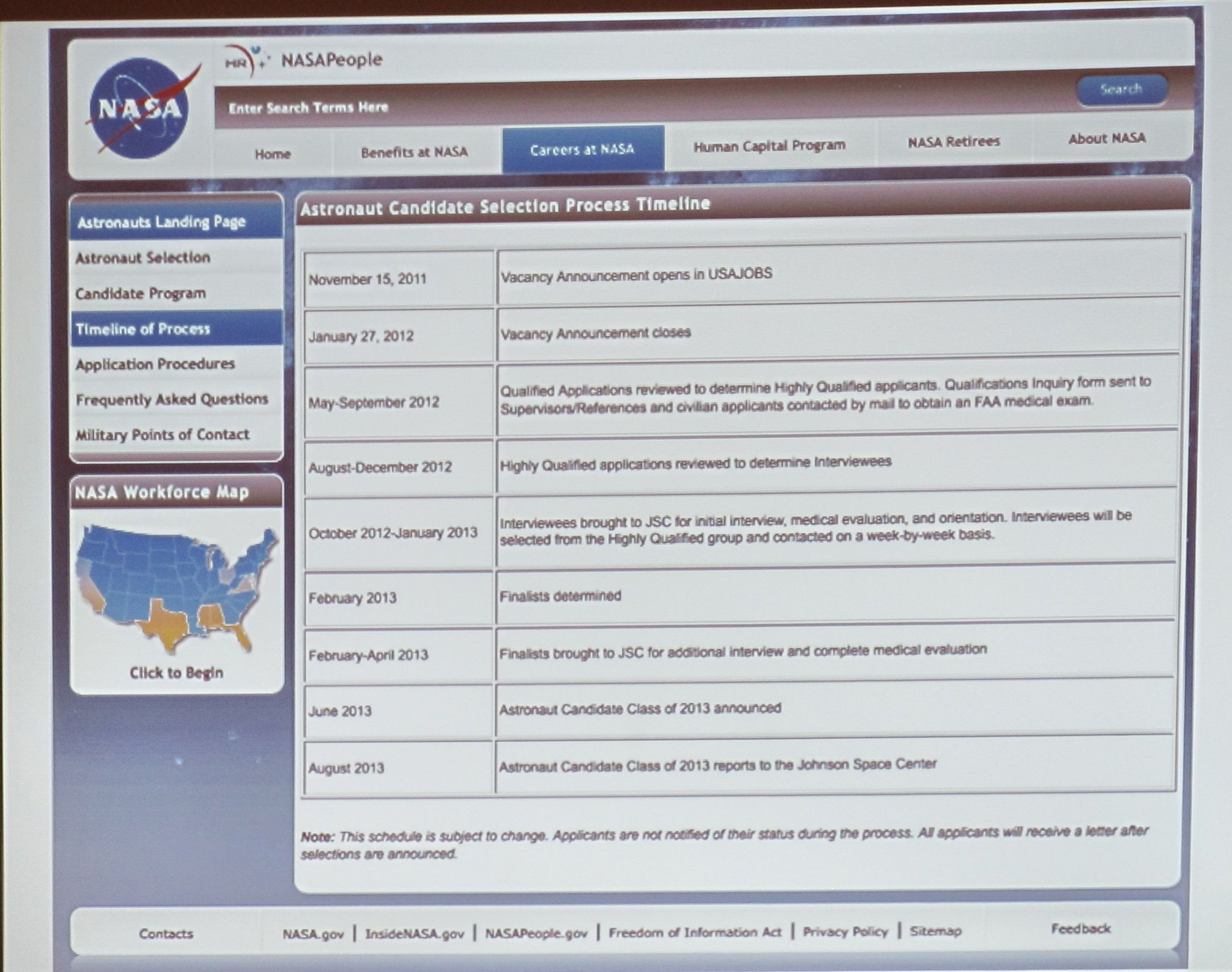 NASA's initial astronaut job application form.