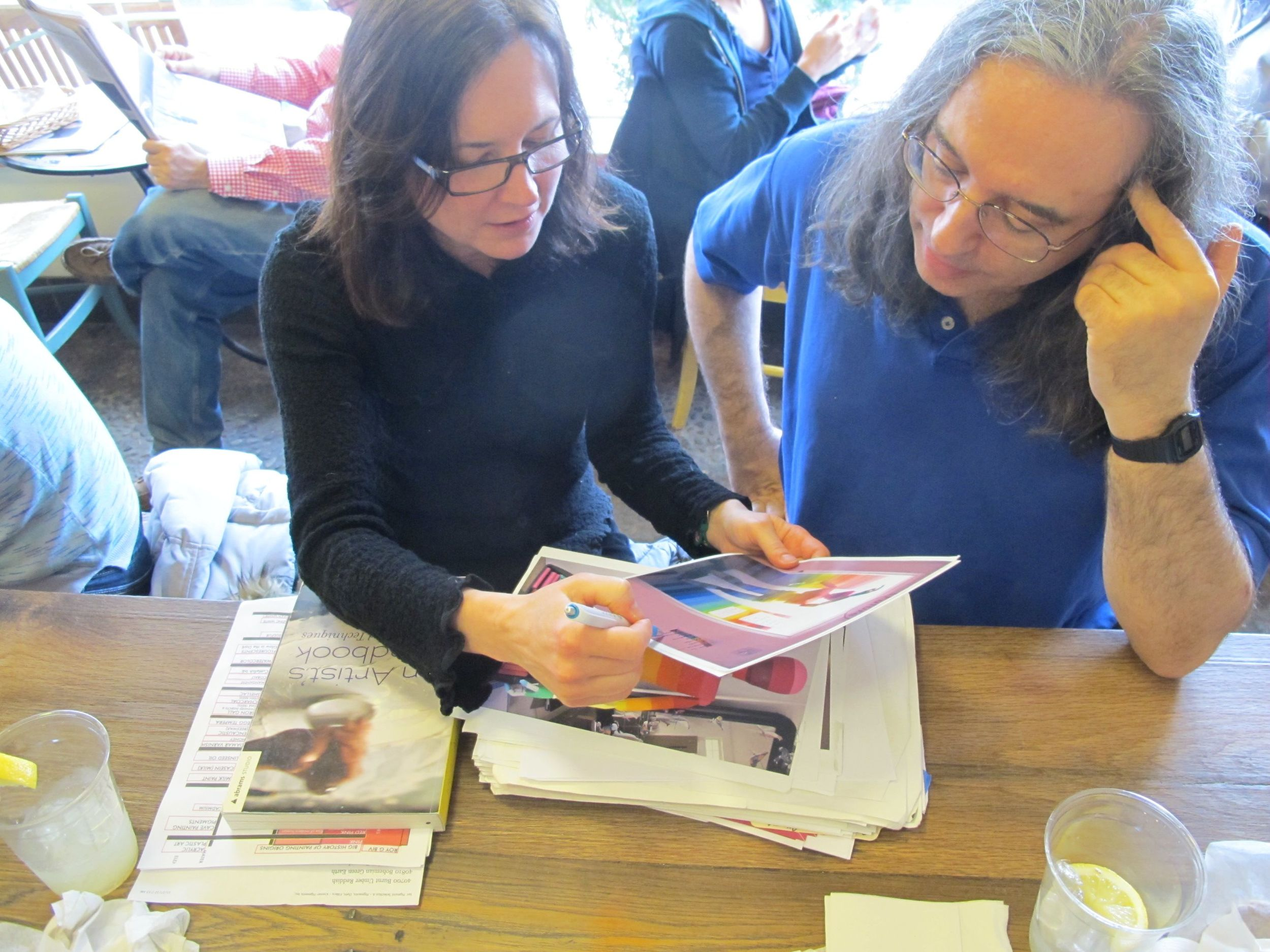 Pamelia asked for Jonathan's ideas on some of The Naturalist's Notebook's projects and designs over lunch at the Hi-Rise Bread Company cafe near his office.
