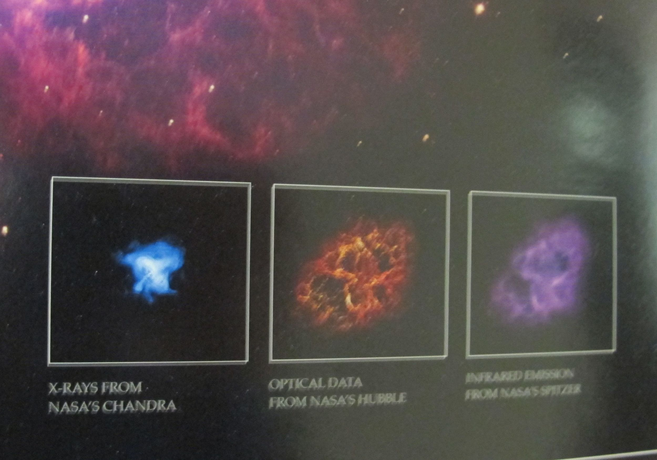 This slightly blurry shot shows the very different pictures of the Crab Nebula taken by (from left) Chandra, Hubble and Spitzer, NASA's three Great Observatories in the sky.