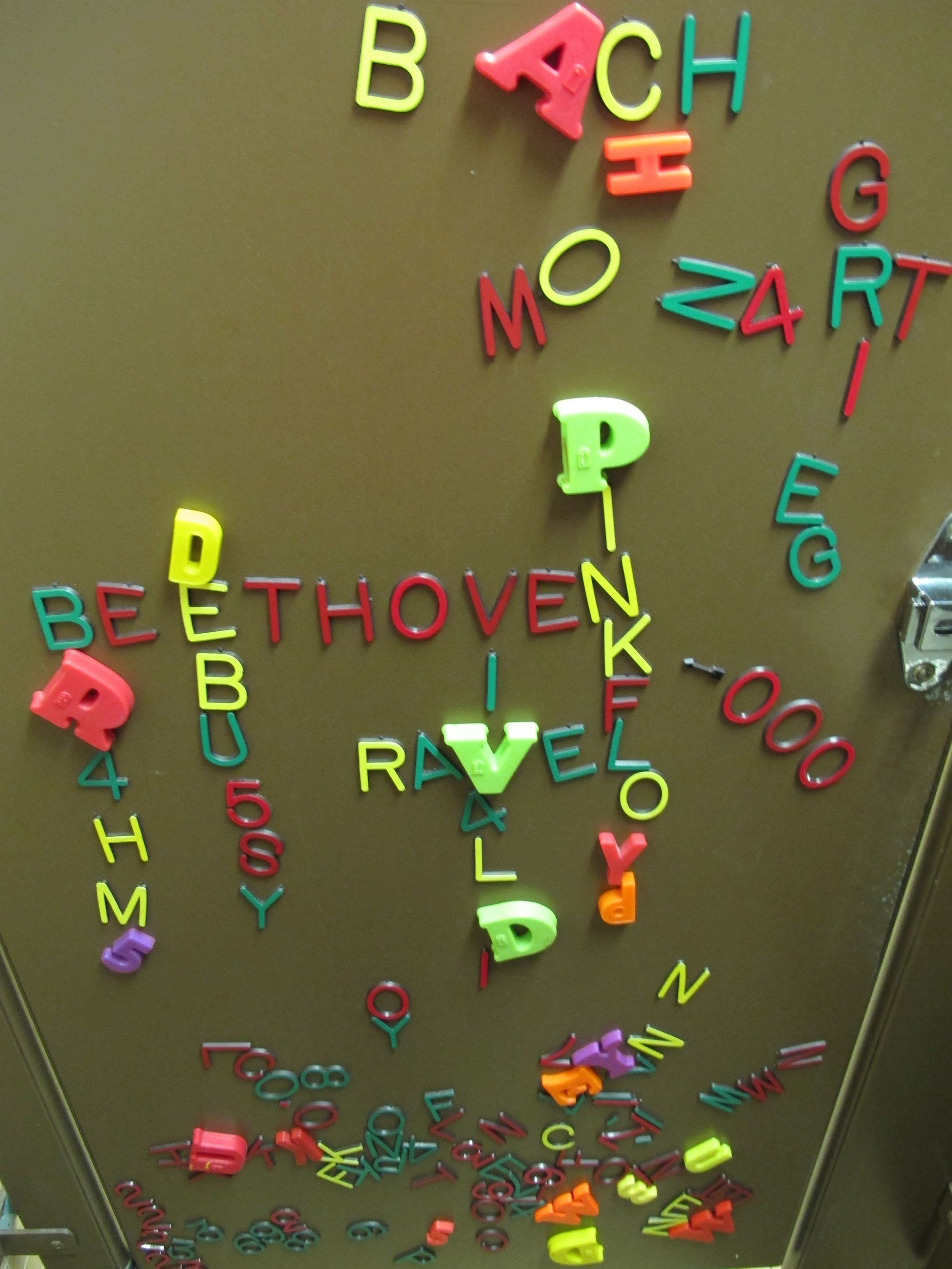 Pamelia found these colorful, musical letters inside a bathroom at the Harvard-Smithsonian Center for Astronomy.