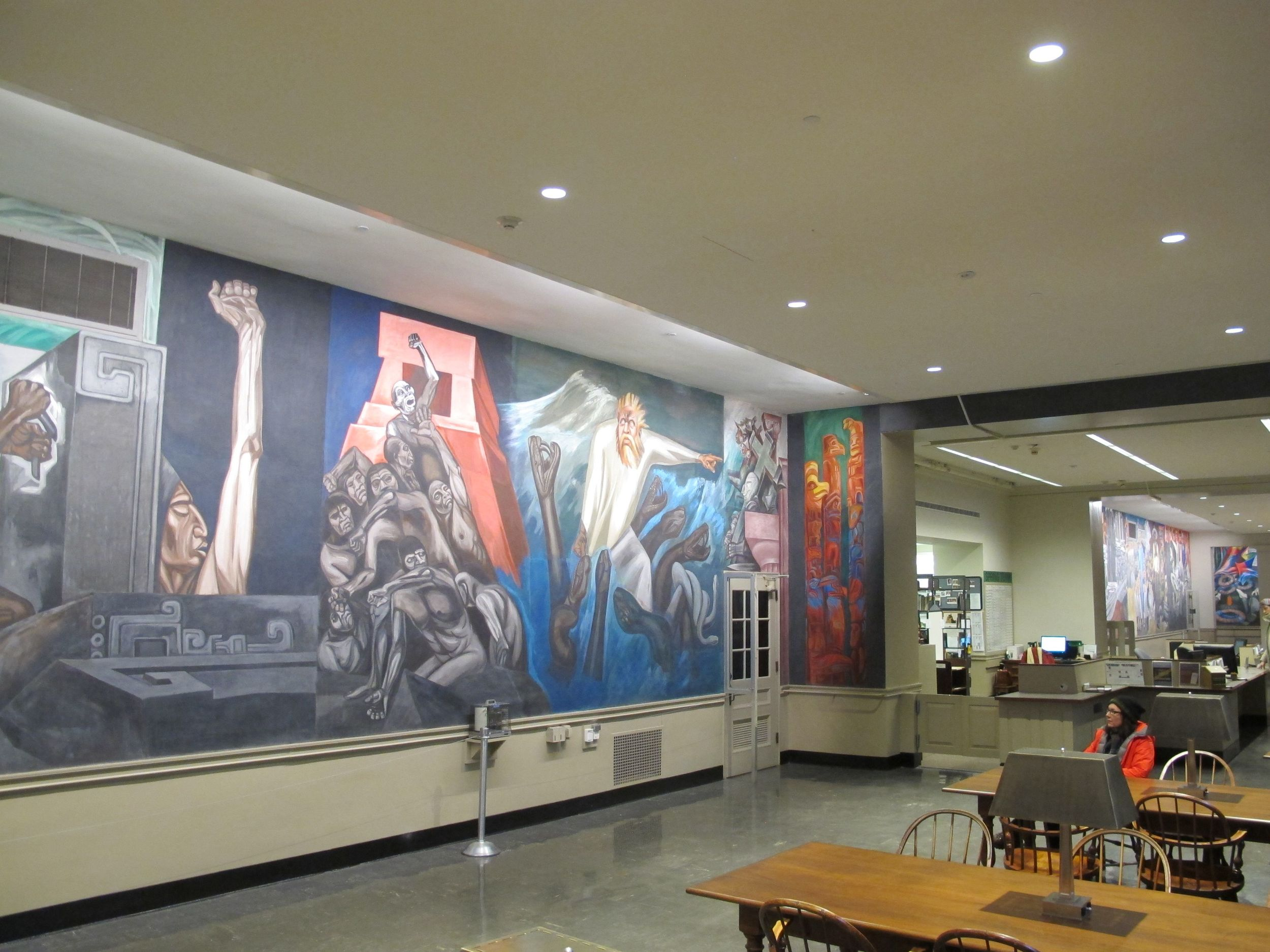 We checked out the Orozco murals downstairs in the Baker Library.