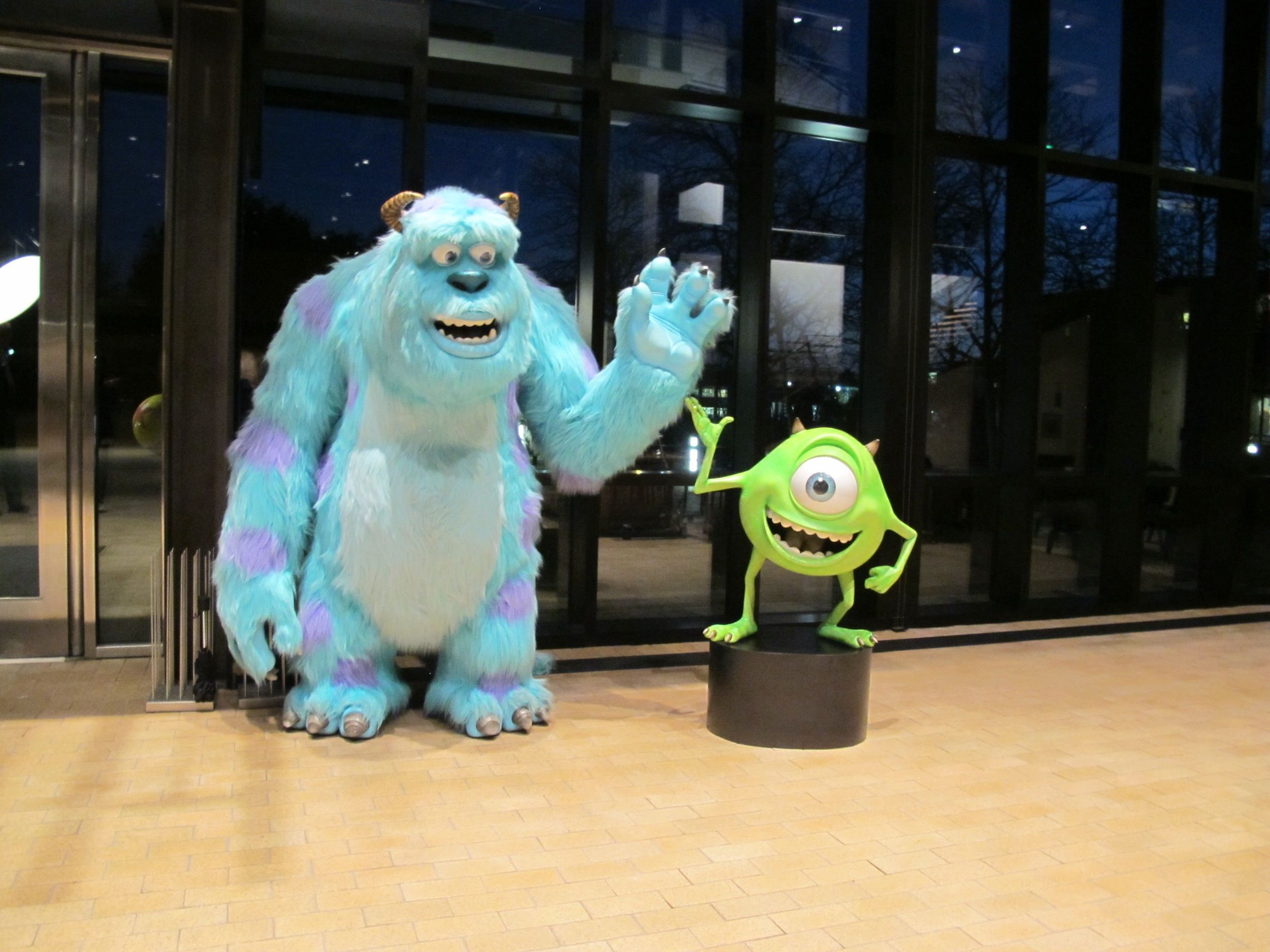As darkness fell, we bid farewell to the Monsters, Inc., characters Sulley (left) and Mike.