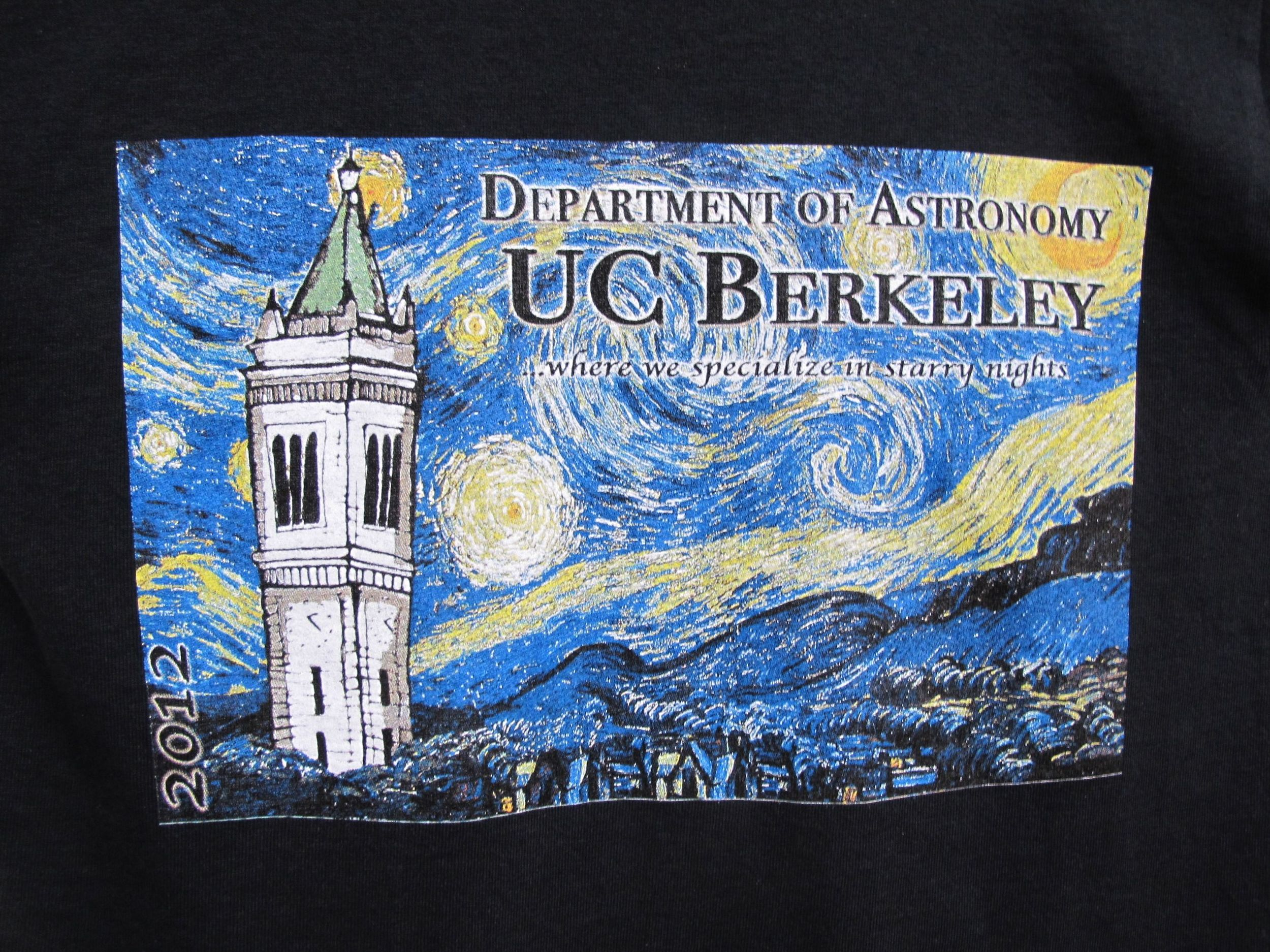 Cal's cool astronomy T-shirts combine the school's landmark campanile with Vincent van Gogh's Starry Night.