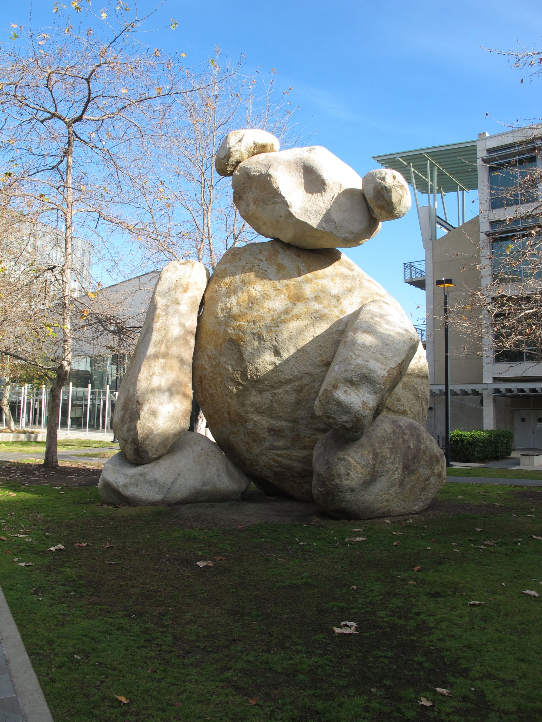 The stone teddy bear on the campus of the University of California at San Diego.