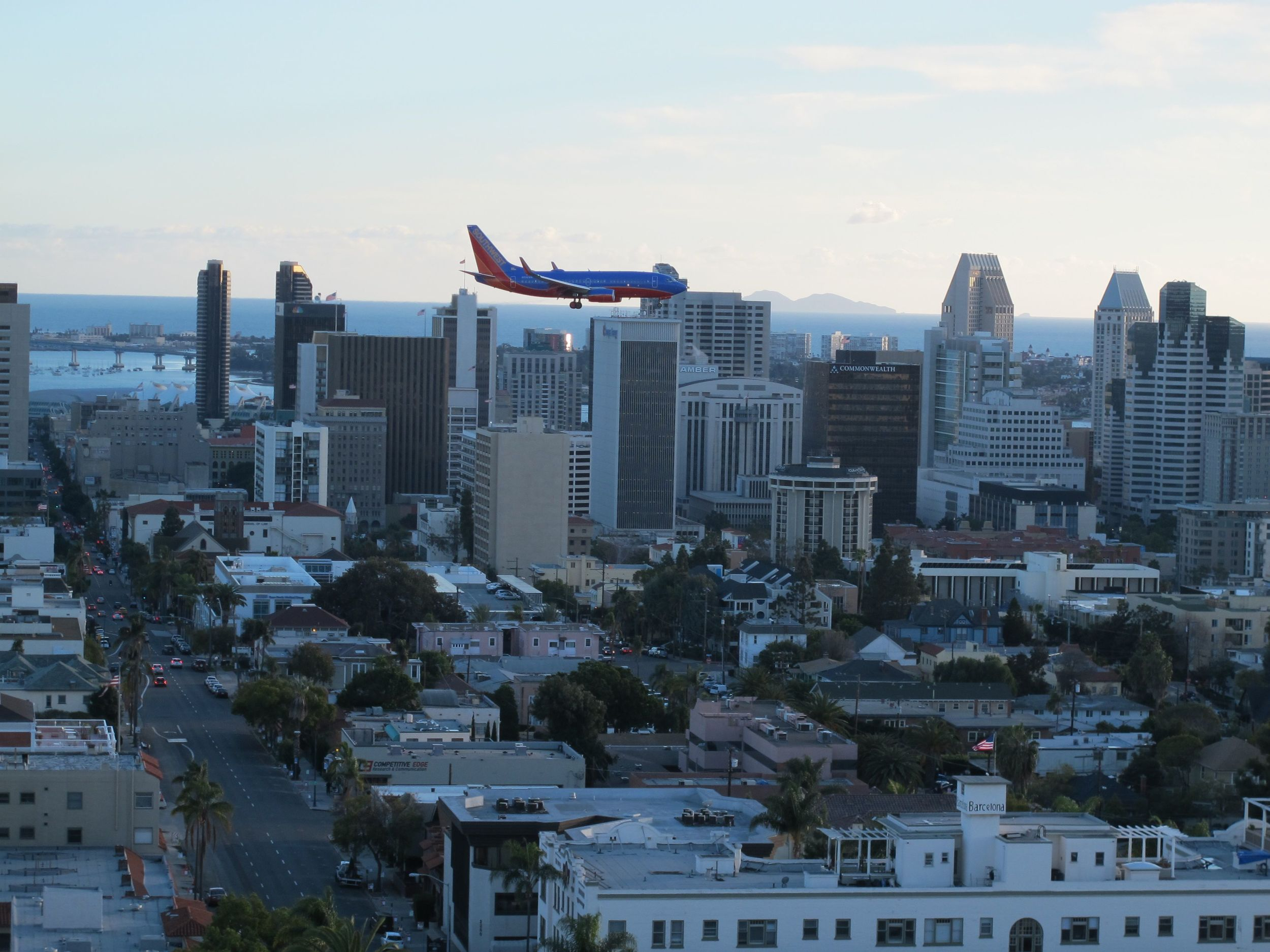 Gary took us to Mister A's, a rooftop restaurant from which you can see the entire city and watch airliners come in surprisingly close to downtown. With all the air bases around, the roar of jets is a recurring stanza in the San Diego sound track.