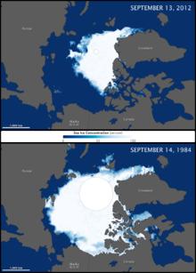 The shrinking Arctic ice.