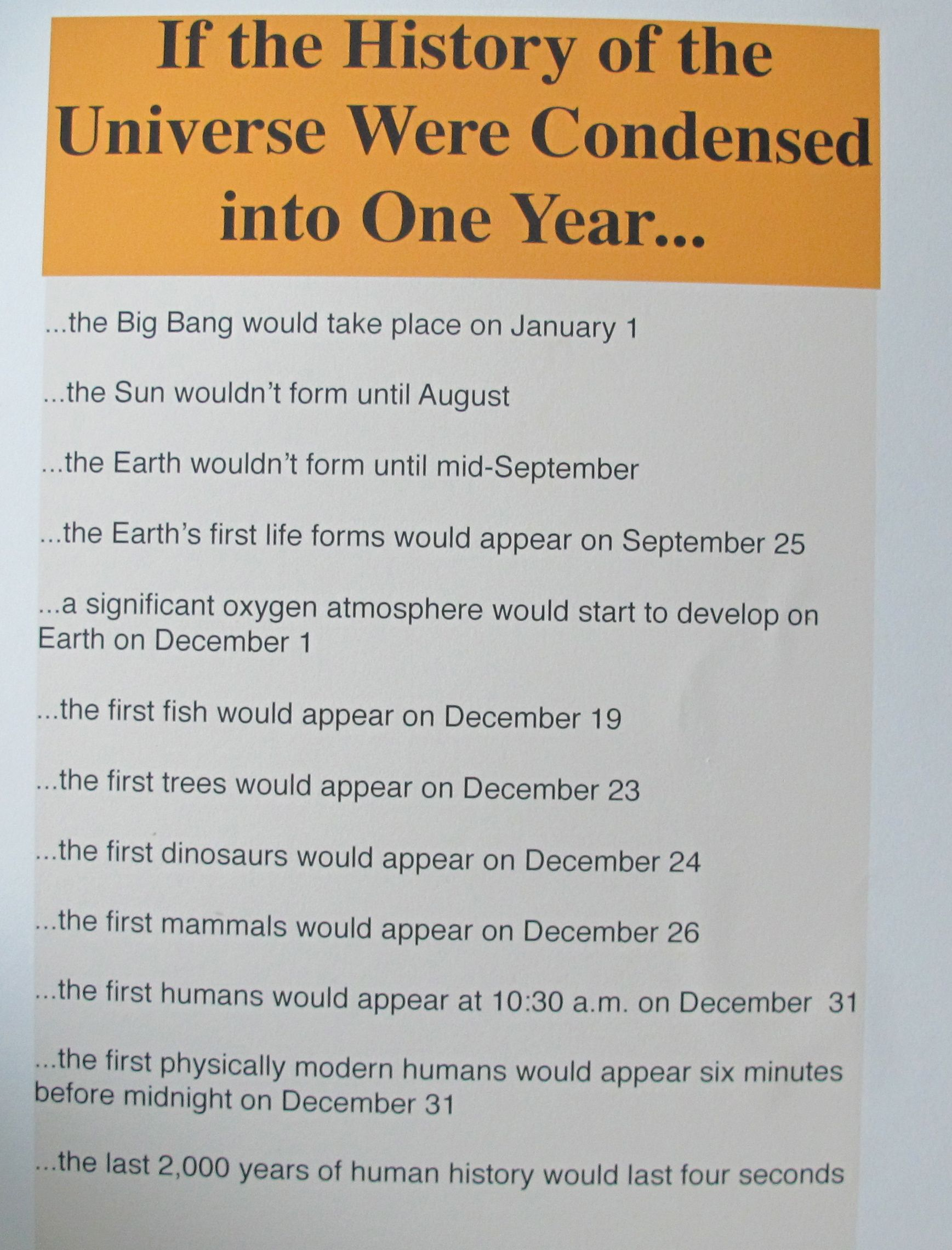We made this sign for the Notebook to help visitors grasp the vastness of the universe's history—and how short human history is by comparison.