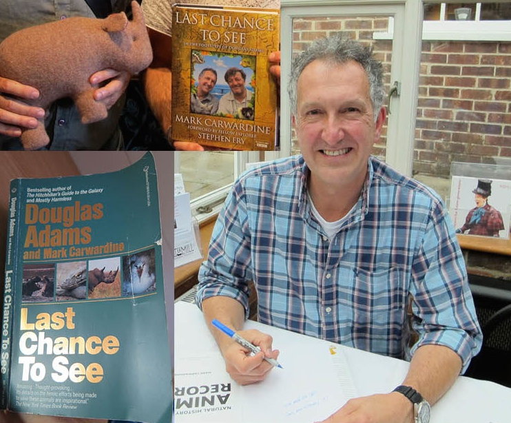 When we met Mark Carwardine in 2011, he had finished writing and filming (with Stephen Fry) a 20-years-later sequel to the original  Last Chance to See . That green book is a tattered copy of the original, which we brought along on our Antarctic voyage. The top inset shows the hardcover sequel and one of the Max-the-rhinos we had an artist create after we read and watched that equally important sequel. (Click on the video interview below to see Max the rhino and learn more about Douglas Adams and  Last Chance to See .)