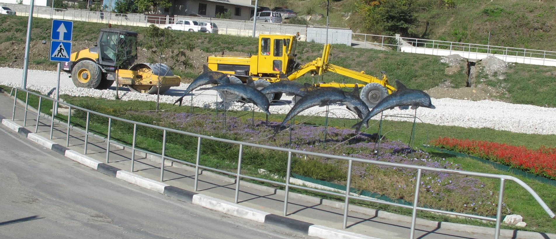 This sculpture of Black Sea dolphins sits near the Sochi airport entrance. A dolphin was one of the Olympic mascot candidates favored by local residents, but it didn't make the final cut (a polar bear, a snow leopard and a hare were chosen instead). Environmentalists have been concerned in recent years by the dwindling number of Black Sea bottlenose dolphins, which have fallen victim to poaching and pollution.