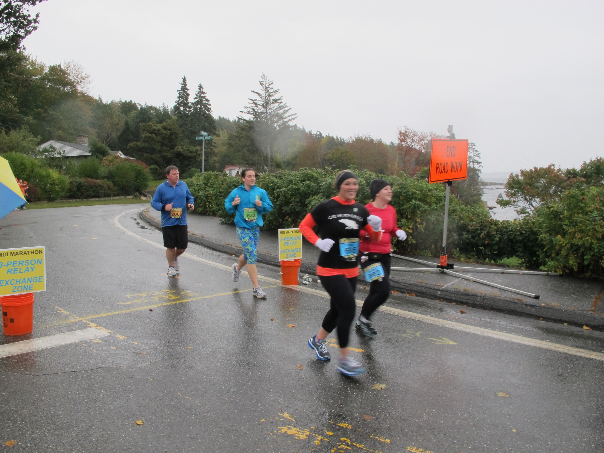 The Mount Desert Island Marathon made its way through Seal Harbor this morning in the cold rain. The runners very much appreciated our yells of encouragement.