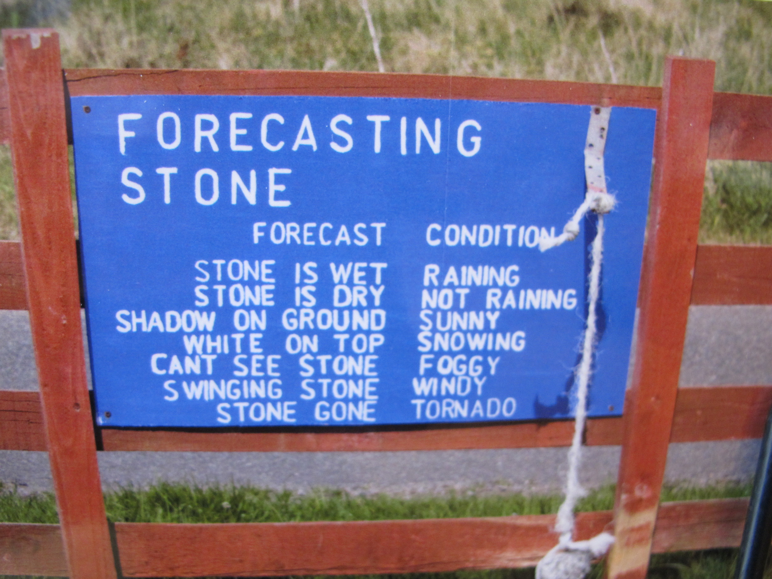The winds at one spot topped 60 mph and nearly blew my dad over. This sign sums it up nicely.