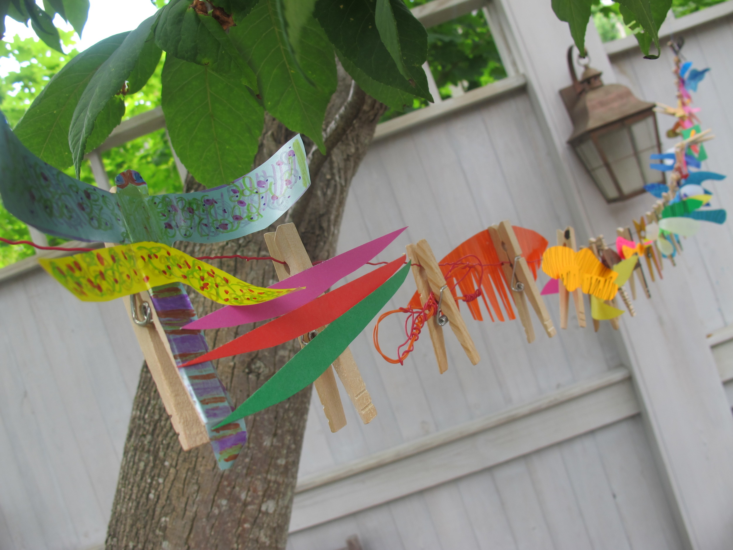 We held a dragonfly-themed science-art-and-dance event on the Notebook deck with top Broadway dancers Elizabeth Parkinson and Scott Wise. It was a blast. Here are some of the clothespin dragonflies people made. The idea for these pins came from Elizabeth and Scott's son, James, age 7.