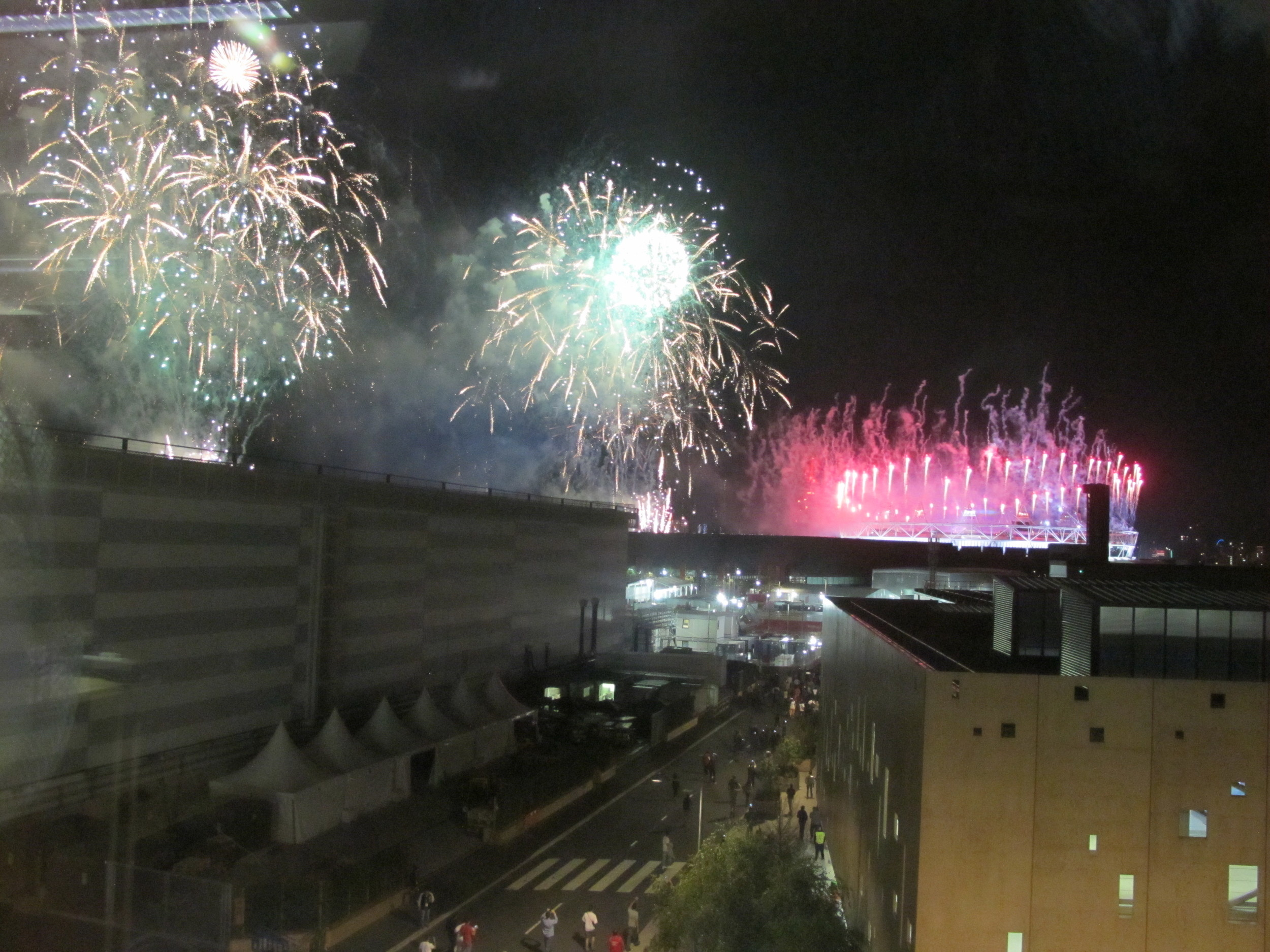Olympic closing ceremony fireworks as seen from our office at the main press center.