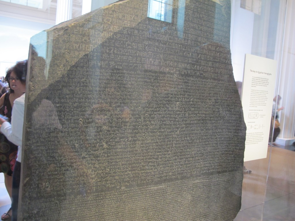 One of the many treasures at the British Museum is the Rosetta Stone, whose engravings of the same words in multiple scripts were a key to the translation of hieroglyphics. It was discovered by Napoleon's troops near Alexandria, Egypt.