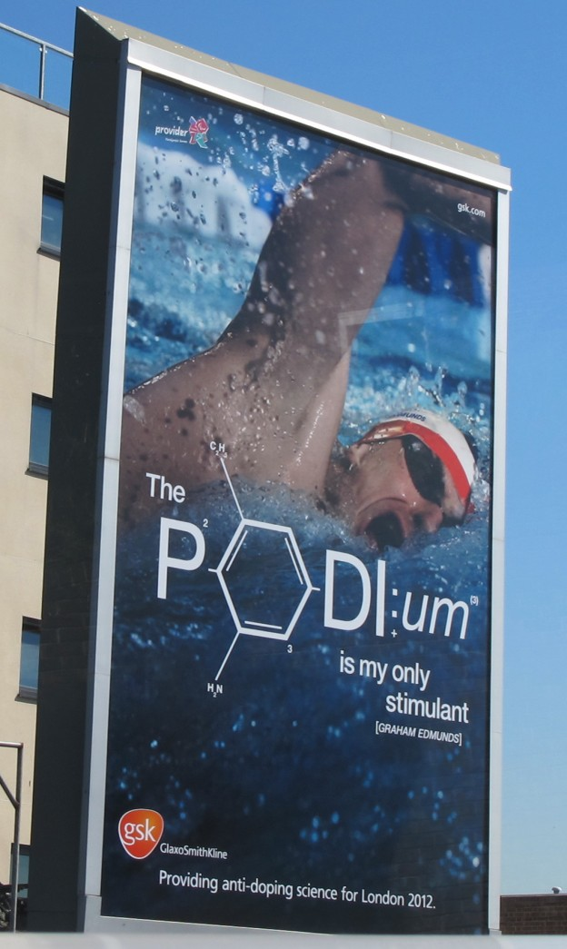 An Olympic anti-doping poster, which makes use of a molecular diagram as the O in podium. Can any of you identify the molecule?
