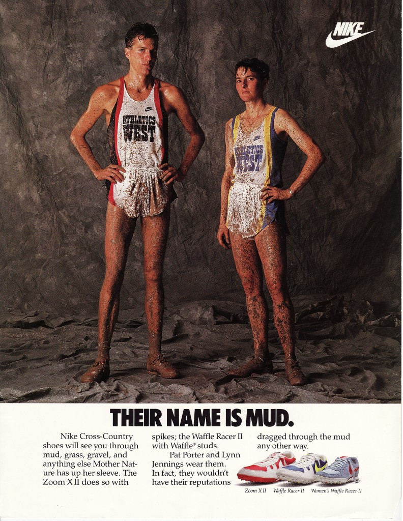 Lynn in a Nike magazine ad with U.S. cross-country great Pat Porter, who was a close friend and kindred spirit of hers. Those of us who knew Pat, a wonderful guy, were shocked and saddened recently by the news that he had died in a plane crash. He was as good a person as he was a runner.