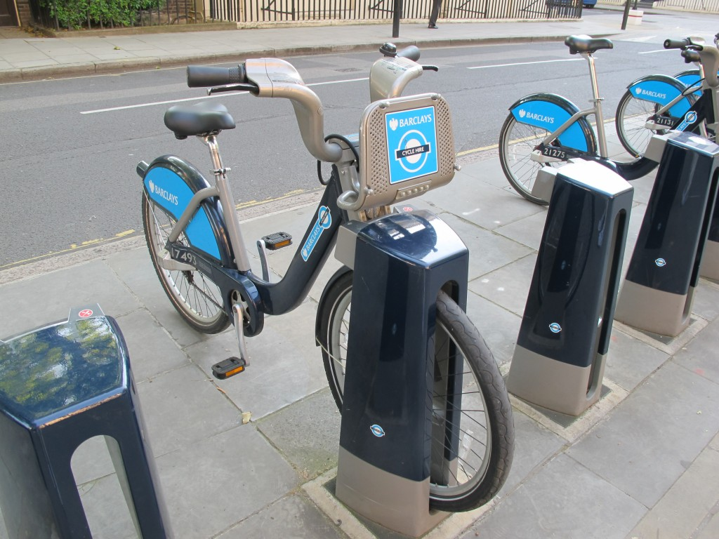 London has become bicycle-crazy. More than 8,000 of these public rent-a-bikes, known as Boris Bikes after mayor Boris Johnson, who has promoted them, are found throughout the city. The recent victory of British rider Bradley Wiggins in the Tour de France has only boosted the number of riders on the streets.